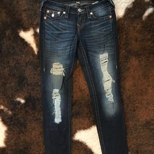 True religion distressed boyfriend jeans